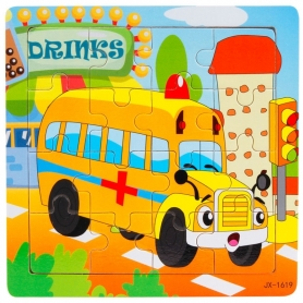 Puzzle en bois Bus scolaire 16 pièces