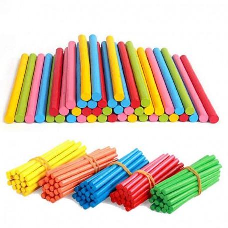 X100 Bâtonnets en bois colorés